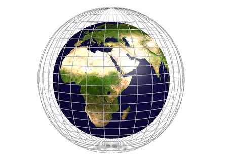 isoliert: the earth with a metallic grid Stock Photo