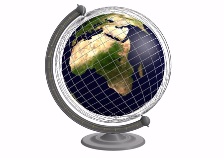 globe grid: Globe with a grid and earth