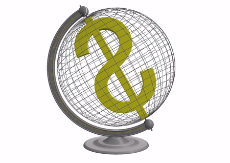isoliert: a dollar sign inside a globe Stock Photo