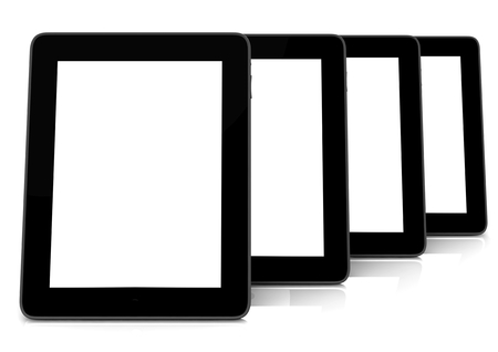 isoliert: three tablets blanko with white screen