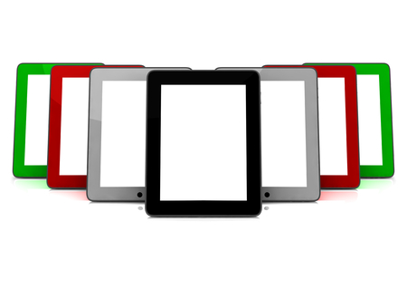 isoliert: tablets blanko with white screen and different colors