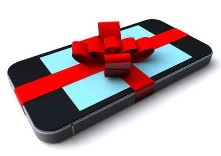 a phone with red loop package as a gift Stock Photo