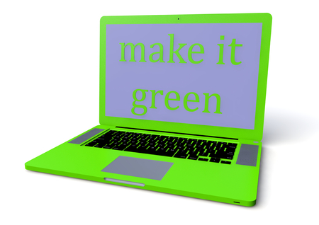 isoliert: laptop in green with lettering make it green