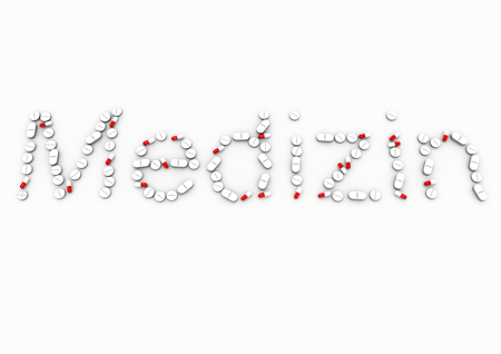 isoliert:  lettering Medizin made of white and red pills Stock Photo