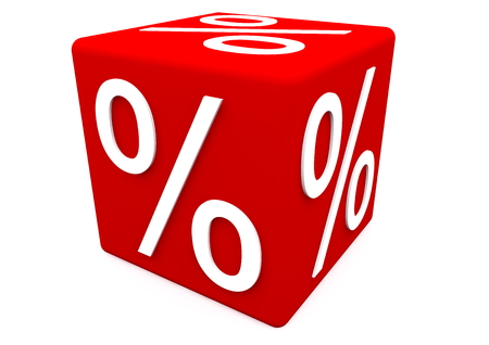 sellout: a percentage sign on a red cube Stock Photo