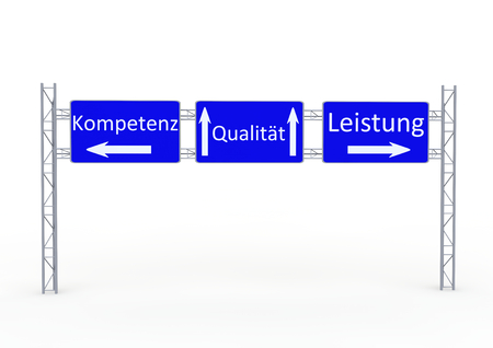 competence: a street sign with the directions in german lettering competence, quality and performance Stock Photo