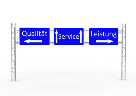 a street sign with the directions in german lettering service, quality and performance