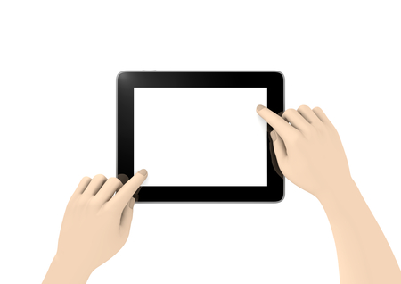 a tablet with two hands to show something Stock Photo