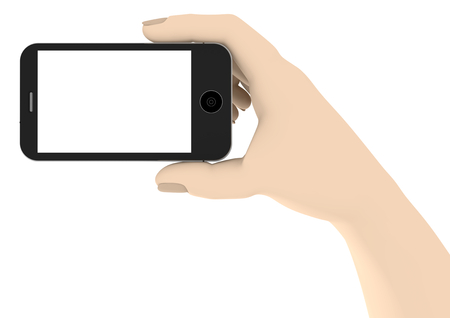 isoliert: a hand with a phone with white display