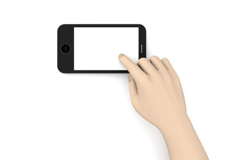 a phone with a hand to show something Stock Photo