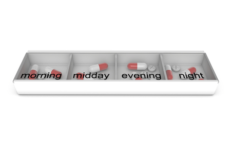 isoliert: pillbox with pills for every daytime in english language