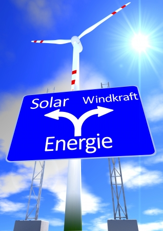 solarpower: a blue sky with the sun and a street sign with the directions in german lettering solarpower or windpower and wind turbine