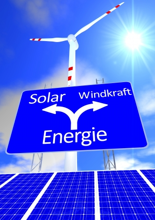 solarpower: a blue sky with the sun and a street sign with the directions in german lettering solarpower or windpower and wind turbine and solar panel