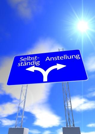 empleadas: un cielo azul con el sol y una se�al de tr�fico con las indicaciones en letras alem�n empleada e independiente