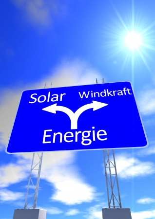 a blue sky with the sun and a street sign with the directions in german lettering solarpower or windpower