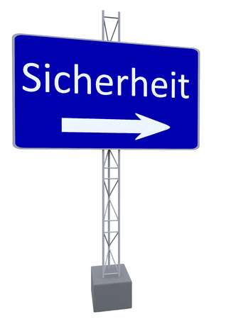safty: a street sign with a direction and german lettering security