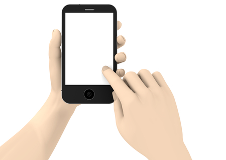 isoliert: two hands with a phone with white display Stock Photo