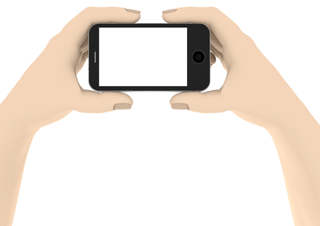 two hands with a phone with white display Stock Photo