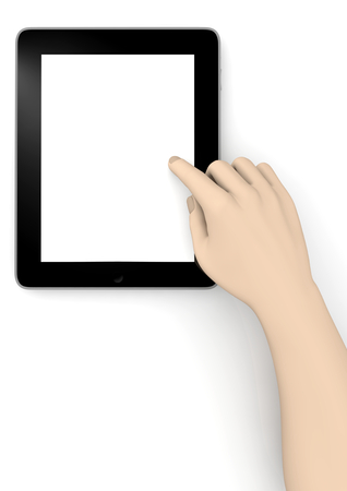 isoliert: a tablet with a hand to show something
