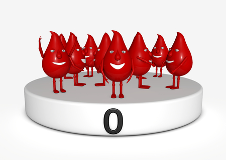 isoliert: blood manikins on a socket with a sign with the blood group zero Stock Photo