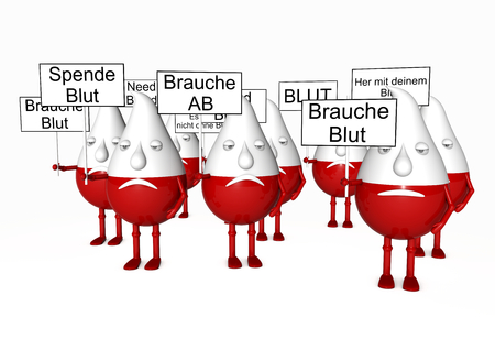 isoliert: many blood manikins with signs in german language