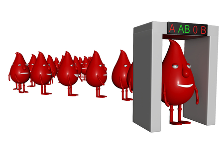 isoliert: blood manikins for checking blood group under a arc