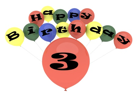 third birthday: The lettering Happy Birthday on ballons with the age on one big ballon Stock Photo