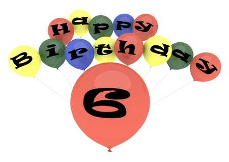 sixth birthday: The lettering Happy Birthday on ballons with the age on one big ballon Stock Photo