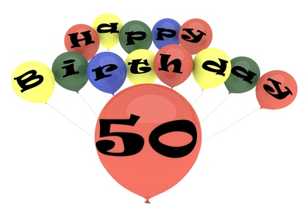The lettering Happy Birthday on ballons with the age on one big ballon photo