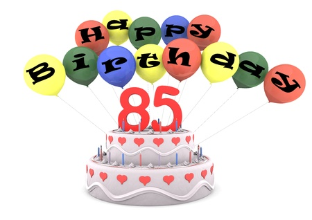 Lettering Happy Birthday on ballons with the age on cream pie photo
