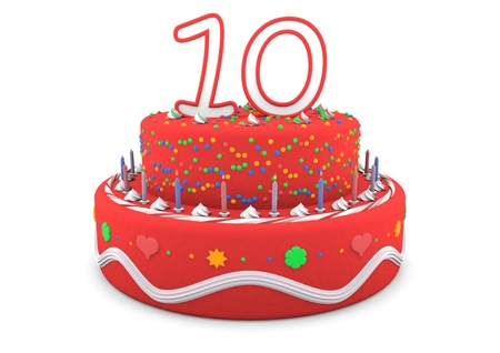 tenth birthday: a red cream birthday pie with the age on top