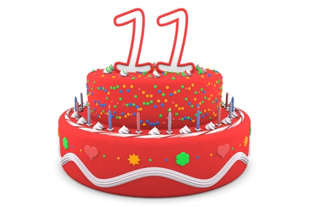 eleventh birthday: a red cream birthday pie with the age on top