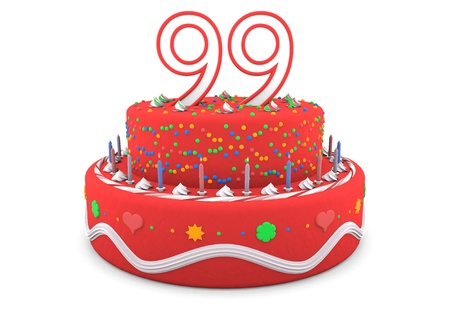 99: a red cream birthday pie with the age on top