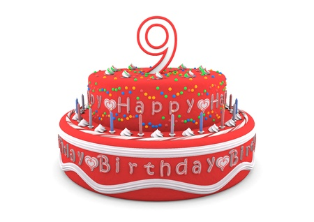 ninth: a red cream birthday pie with the age on top and the lettering Happy Birthday