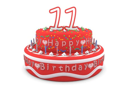 eleventh birthday: a red cream birthday pie with the age on top and the lettering Happy Birthday