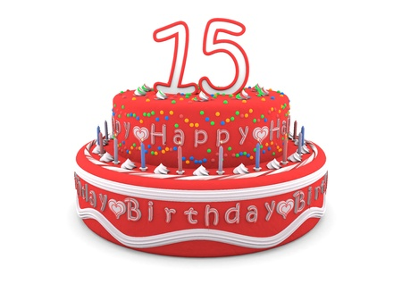 a red cream birthday pie with the age on top and the lettering Happy Birthday photo
