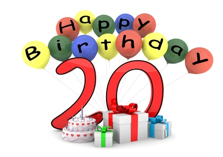 twentieth: some ballons with lettering Happy Birthday and a big number as the age und some items before Stock Photo