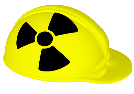 a yellow helmet with black radiation sign photo