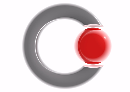 refelction: a ring with a red ball and reflections Stock Photo