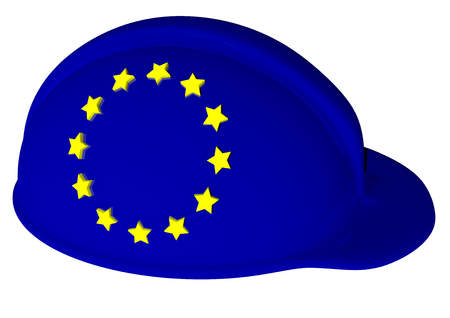 safty: a helmet with the color of EU and stars