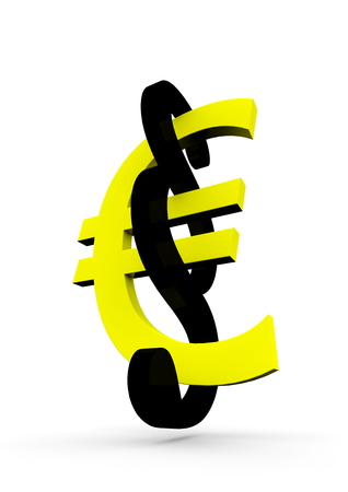 a yellow euro with a black paragraph sign photo