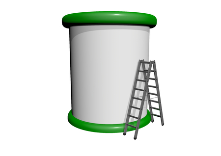 advertising column: a advertising column with a ladder before Stock Photo