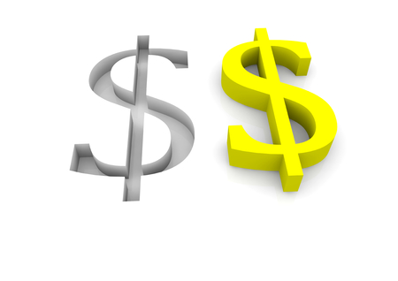 dollar signs: two dollar signs in yellow and as relief