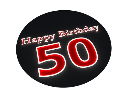 optional: The lettering Happy Birthday as luminous writing and the age 50 with red background