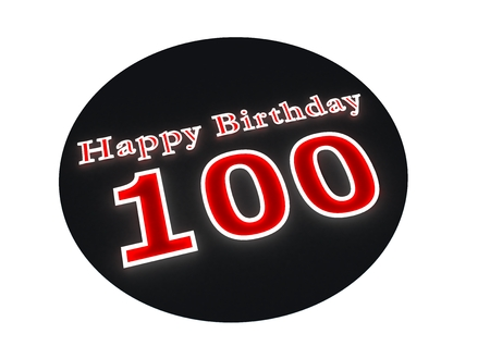 onehundred: The lettering Happy Birthday as luminous wrting and the age 100 with red background Stock Photo