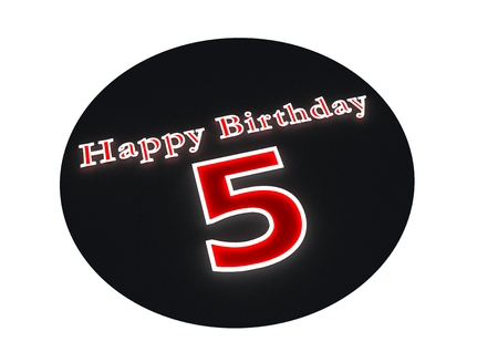 age 5: The lettering Happy Birthday as luminous writing and the age 5 with red background Stock Photo