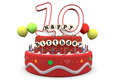 tenth birthday: A birthday cream pie with balloons, big age number 10 and the lettering Happy Birthday on small sticks Stock Photo