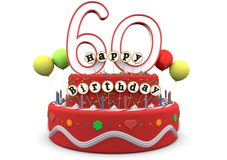sixty: A birthday cream pie with balloons, big age numbers 60 and the lettering Happy Birthday on small sticks