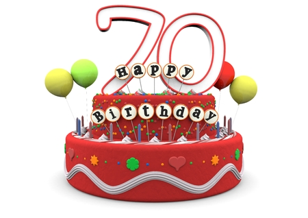 A birthday cream pie with balloons, big age numbers 70 and the lettering Happy Birthday on small sticks Stock Photo