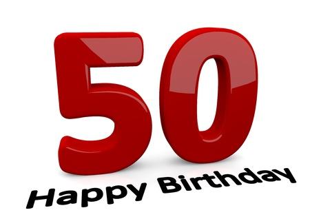 number 50: letras negro Feliz cumplea�os en el suelo delante de un gran n�mero rojo 50 con la reflexi�n Foto de archivo